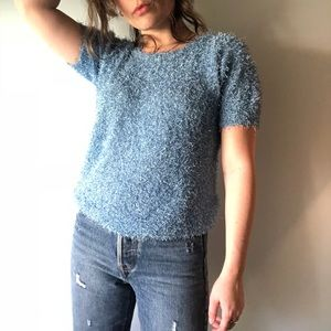 VINTAGE Blue Fuzzy Short Sleeve Top